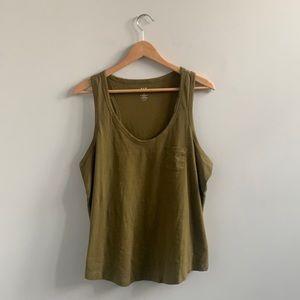 New Gap Olive Green Pocket Detail Cotton Tank Top